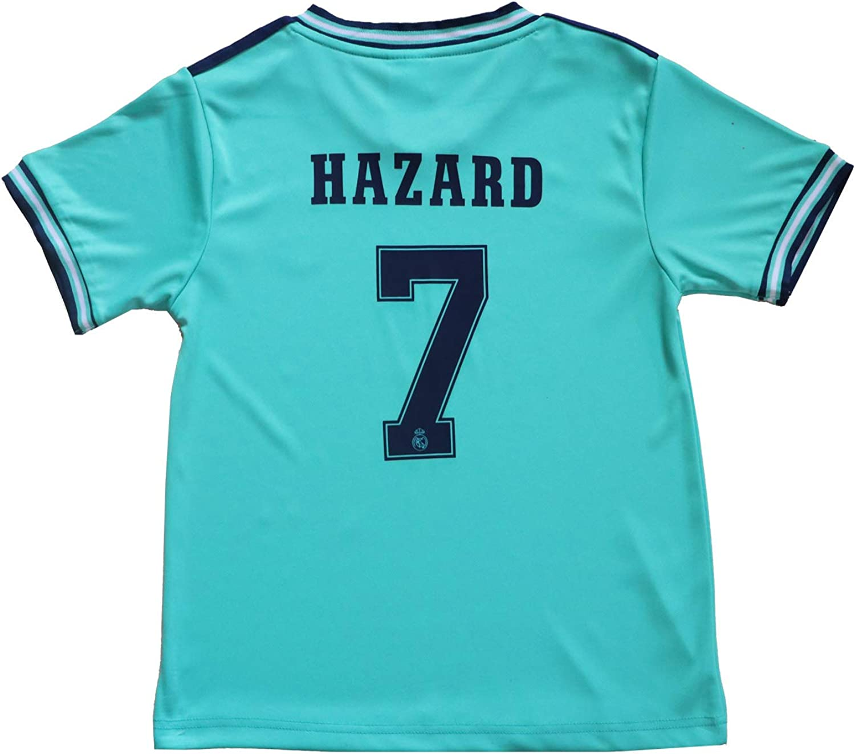 SecenMerch 2019//2020 New Hazard No #7 Real Madrid Third Green Blue Kids Soccer Jersey Kit Shorts Socks Set Youth Sizes
