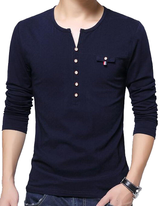 Oberora Mens Casual Long Sleeve Button Basic Henley T-Shirt