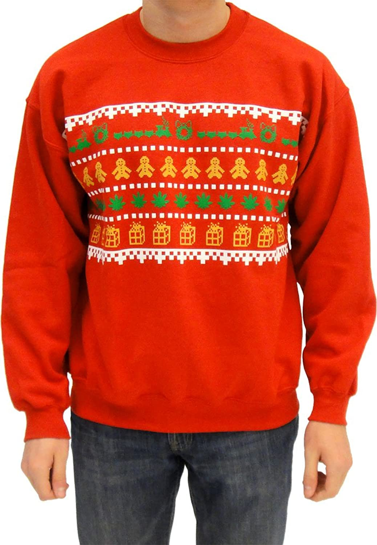 Amazon.com: Ugly Christmas Sweater - Wreath Gingerbread Marijuana ...