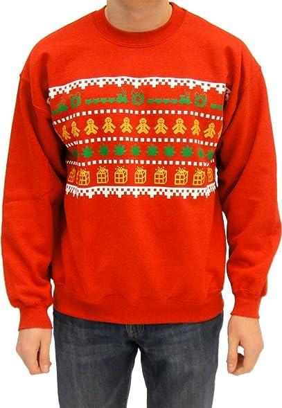 ugly christmas sweater wreath gingerbread marijuana presents adult red sweatshirt adult x large