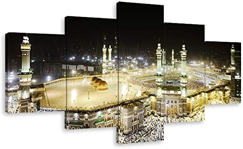 VIIVEI Large Size Islamic Wall Art Muslim Canvas Painting Printed Mecca Pictures 5 Pieces Posters Home Decor Artwork Huge Panel Arabic Set Supply Framed Bedroom Living Room 70″ Wx40 H