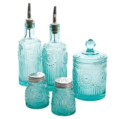 The Pioneer Woman Adeline Mini Jars 5-Piece Condiment Set, Turquoise