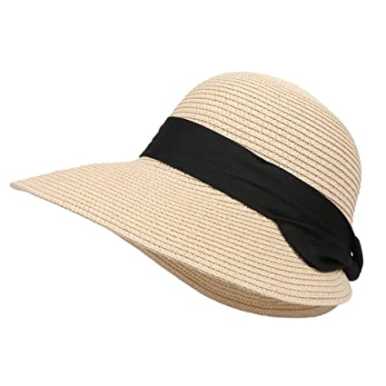8ccb6021 HiGOGO Sun Hat for Women,Summer Straw Sun Visor Hats,Cute Bowtie Wide Brim