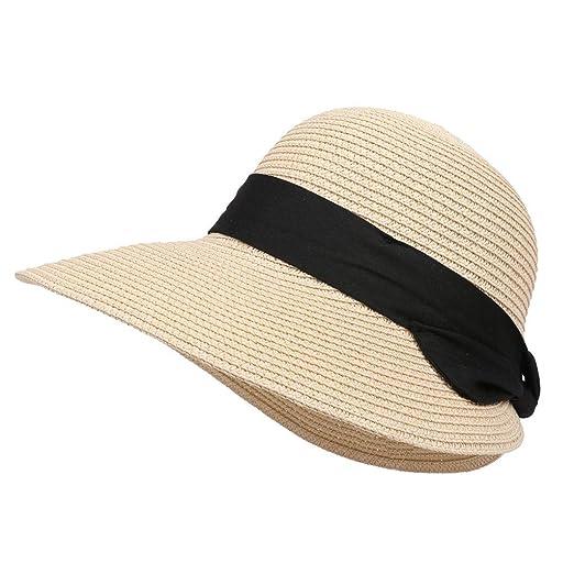 48cdf8a76 Hat Adjustable Strap, Outdoor Fashion Womens Girls Straw Beach Sun ...