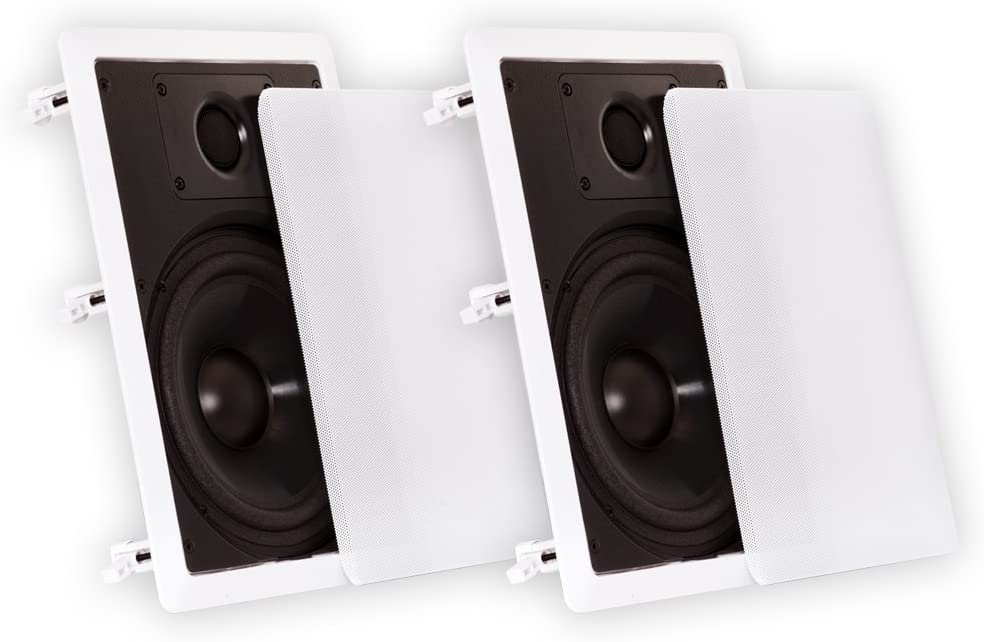 "Theater Solutions CS8W in Wall 8"" Speakers Surround Sound Home Theater Pair"