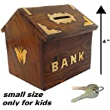 Kundi Wooden Money Bank Hut Style Kids Piggy Coin Box Gifts Handmade (4-Inch) with Lock