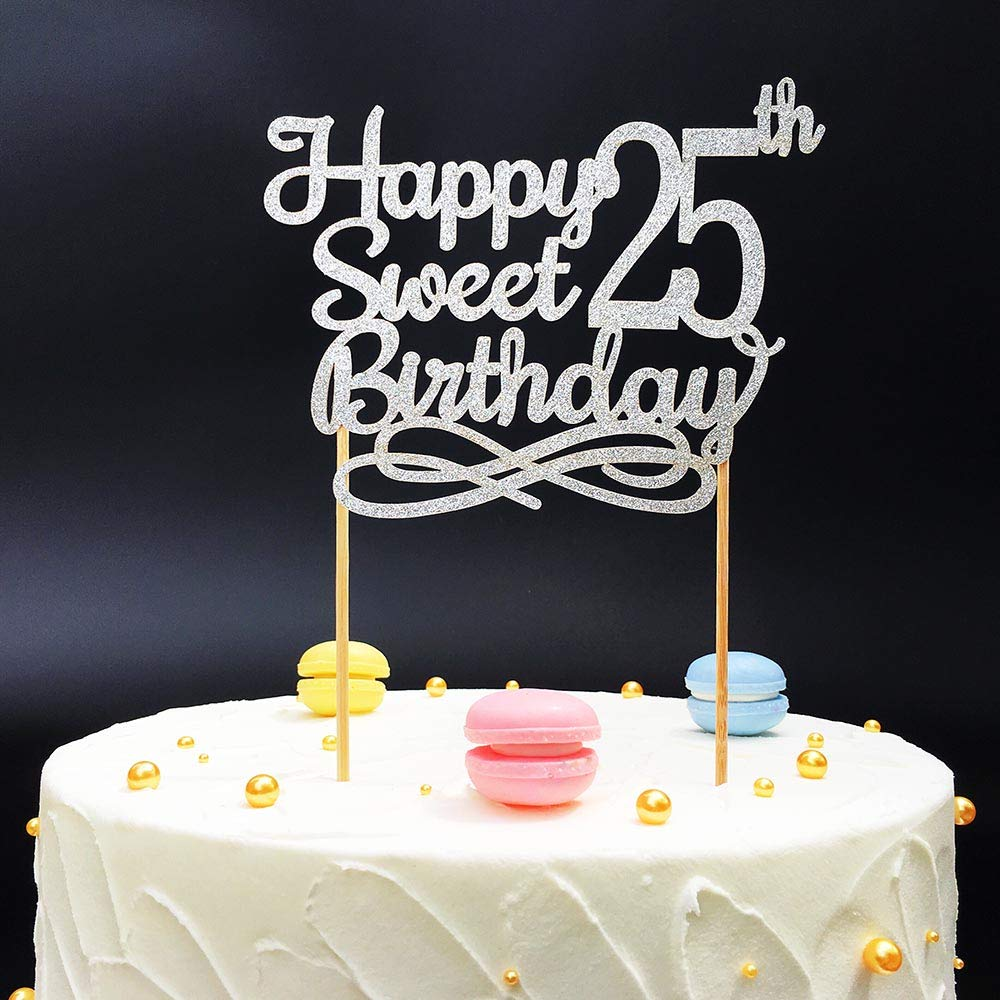 Excellent Silver Happy Sweet 25Th Birthday Cake Topper Silver Paper Cake Funny Birthday Cards Online Alyptdamsfinfo