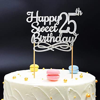Terrific Silver Happy Sweet 25Th Birthday Cake Topper Silver Paper Cake Funny Birthday Cards Online Alyptdamsfinfo