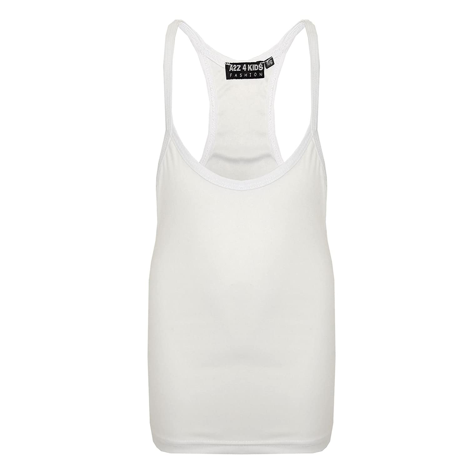 A2Z 4 Kids® Kids Girls Racer Back Vest Top Designer's White Fashion Tank Tops T Shirts New Age 5 6 7 8 9 10 11 12 13 Years