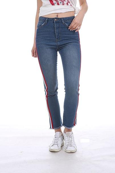 e6e63f679a11ae Womens High Waisted Jeans Stretch Straps Side Skinny Juniors Long Blue  Denim Pants