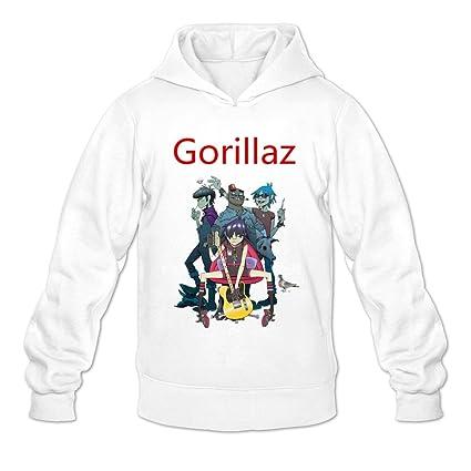 Hombre gorillaz música Sudaderas con capucha sudadera tamaño US Color Blanco, L, Blanco