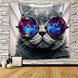 QCWN Animal Tapestry Multicolor Wolf Galaxy Hipster Cat Wear Color Sunglasses and Unicorn Painting Wall Hanging Wall Decor Art Home Decor (2, 59Wx51L)