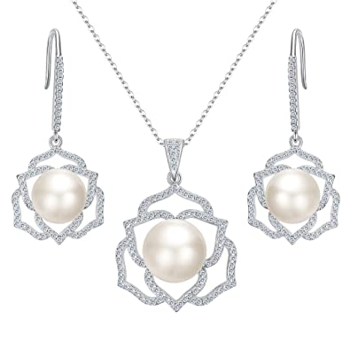 77be8d62d Clearine Women 925 Sterling Silver CZ Ivory Color Freshwater Cultured Pearl  Hollow Lotus Flower Pendant Necklace Hook Dangle Earrings Set: Amazon.co.uk:  ...