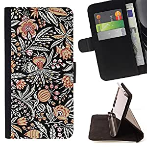 Jordan Colourful Shop - drawn pattern flower black paint For Apple Iphone 4 / 4S - Leather Case Absorci???¡¯???€????€????????&
