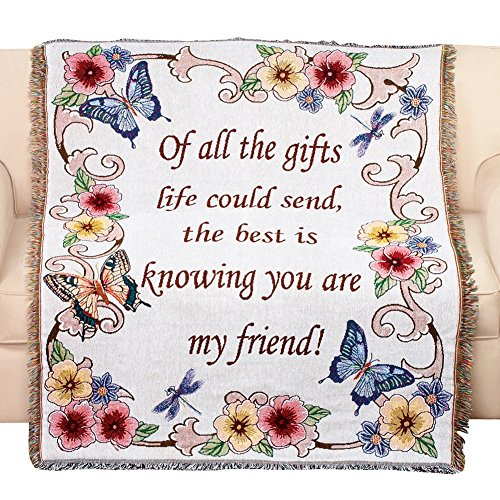 Friends Throw - Collections Etc Tapestry Throw Blanket with Fringe Border, My Friend, Floral with Butterflies, 50