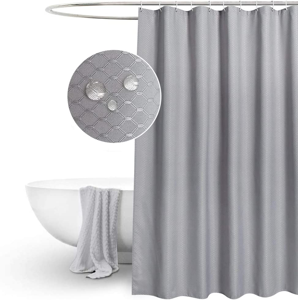 """EurCross Grey Waffle Shower Curtains Extra Long 180 x 210cm drop, Mildew Resistant Water Resistant Fabric shower Curtain for Bathroom, 12eyelets and 12White Plastic Hooks 72""""W x 84""""L Gray"""