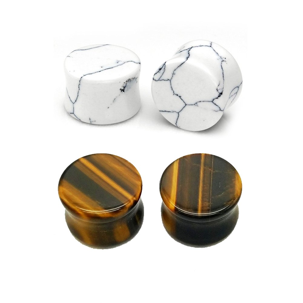 HQLA 2 Pairs White Howlite Organic & Tiger Eye Brown Natural Stone Double Flared Flesh Tunnels Ear Plugs Gauges Stretcher Expander Silicone Body Piercing Jewelry,2g-5/8 (6mm-16mm) (0g(8mm))