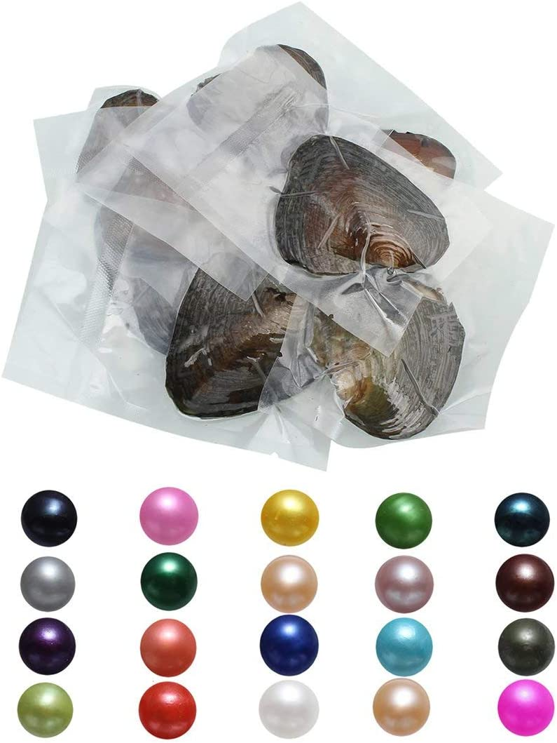 unbrand Freshwater Oysters Pearl Round Pearls Freshwater Cultured Pearl Oyster with Pearl Inside Oysters 50PCS/Lot Mixed Colors Single Bead
