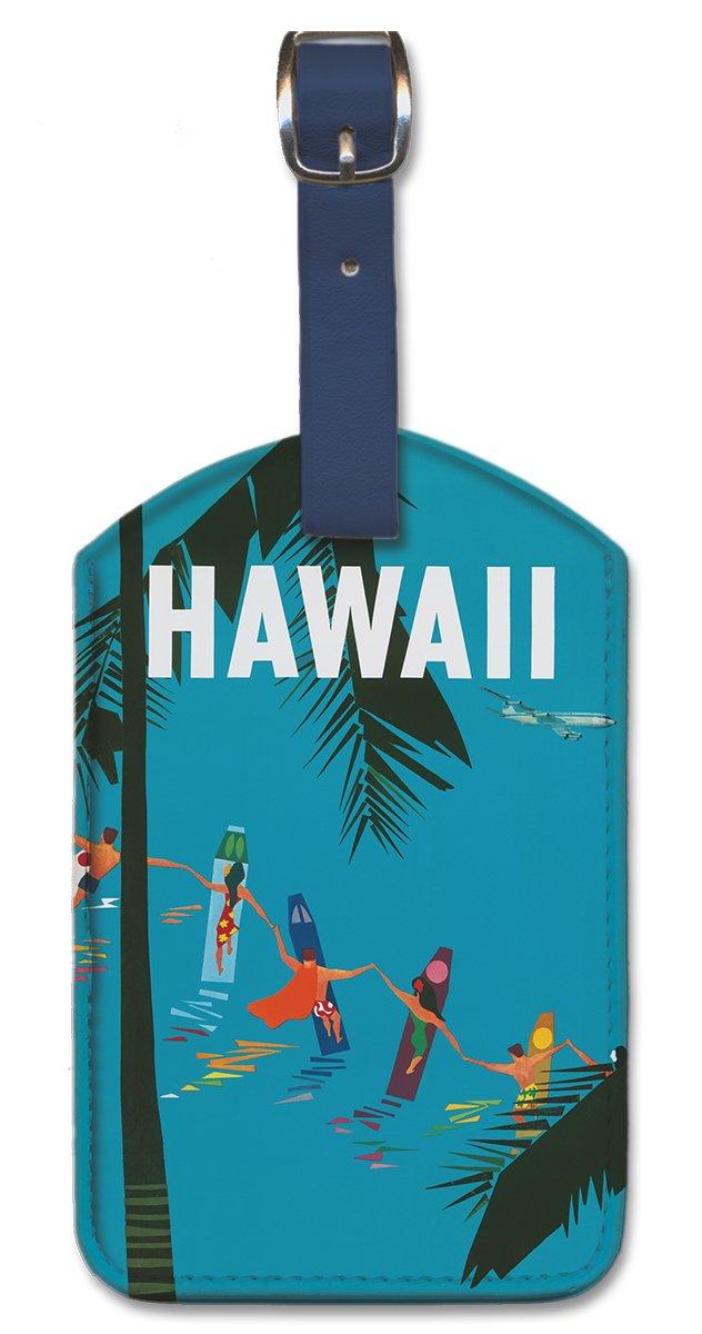 Leatherette Vintage Art Luggage Tag - Hawaii by Aaron Fine