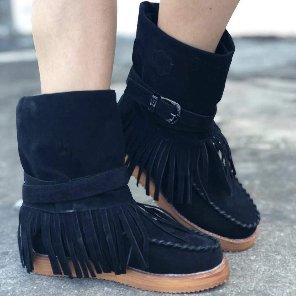 Lataw Womens Boots Autumn//Winter Casual Round Toe Rome Retro Fringe Short Ankle Boots Fashion Flat Shoes