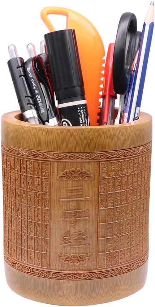 style chinois vintage en bambou sculpt/é fait /à la main pour le bureau organiseur de crayons l/école Porte-crayons en bois fleur de bambou