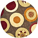 Safavieh Soho Collection SOH835A Handmade Brown and Multi Premium Wool Round Area Rug (6' Diameter)