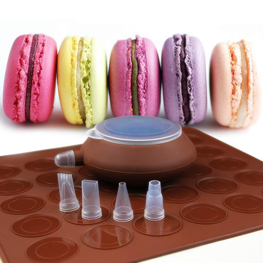 Macaron Baking Set, SOEKAVIA 48-Capacity Macaron Silicone Mat Mold Non-Stick Kit and Decorating Piping Pot with 4pcs Nozzles by SOEKAVIA
