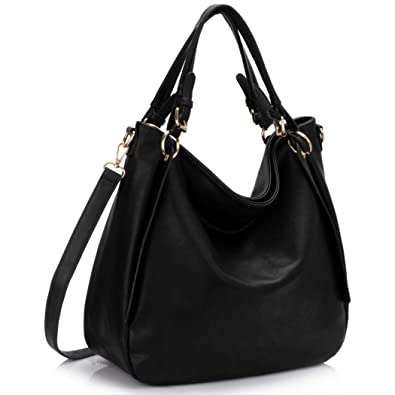 a388e9043d LeahWard Women s Large Shoulder Bags Soft Faux Leather Hobo Bag Handbags A4  Folder CW448 (Black