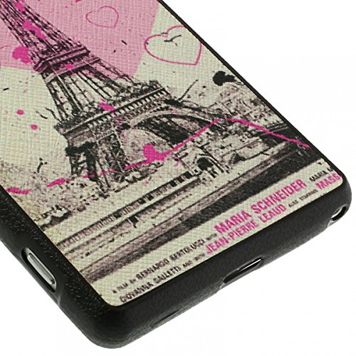 JUJEO Leather Skin Flex TPU Cover for Sony Xperia Z2 D6502 D6503 D6543 - Non-Retail Packaging - Eiffel Tower and Hearts