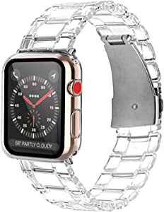 ZXK CO Compatible Apple Watch Band 44mm with Case Screen Protector, Sport Bands Replacement Strap Full Protective Case for iWatch Series 6 Series 5 Series 4 Series SE (Crystal Clear)