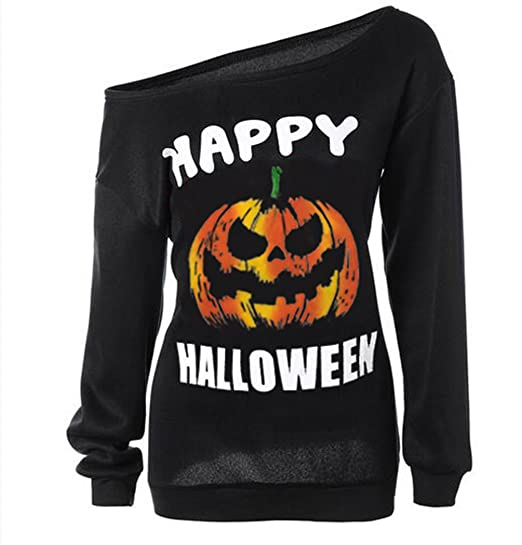 Halloween Pumpkin Sweatshirt Off Shoulder Slouchy Shirt