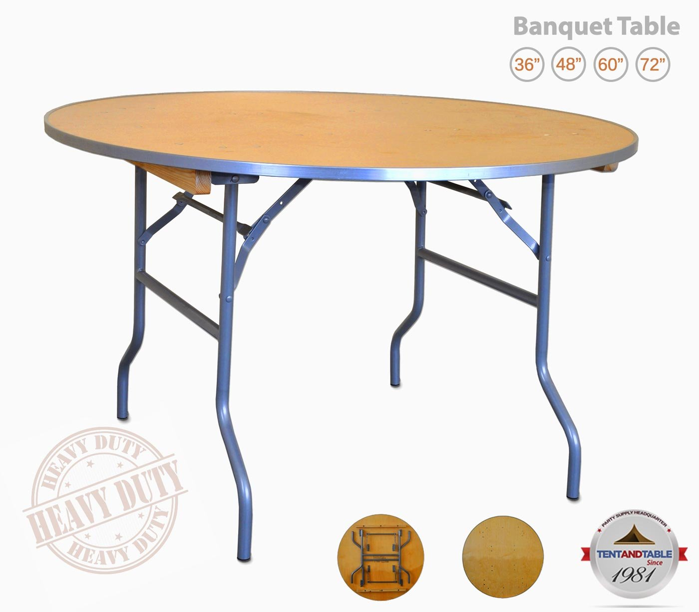4-Foot (48-Inch) Diameter Heavy Duty Round Solid Birch Wood Folding Table with 30-Inch Height and Aluminum Edge for Weddings, Parties, Events, and Classrooms