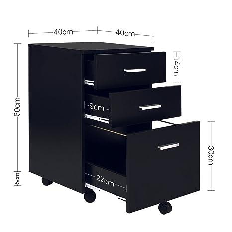 WLIVE - Archivador Vertical de Madera con 3 cajones para tamaño A4, Negro, moblie: Amazon.es: Hogar
