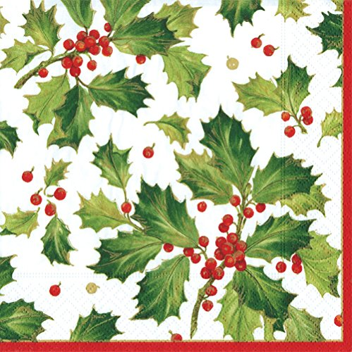 Entertaining with Caspari Gilded Holly Dinner Napkins, White -