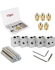 RUNCCI MK8 Extruder Kit+5Pcs 30 millimetri di lunghezza estrusore+ Tubo di gola in teflon 1,75 mm+0,4 mm Ottone estrusore Testine ugello+5 pz Alluminio Riscaldatore