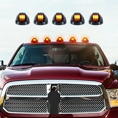 AUXMART 5pcs Smoked Lens Truck Cab Roof Lamps w/ Amber LED Lights for 2003-2012 Dodge Ram 1500 2500 3500 4500 5500