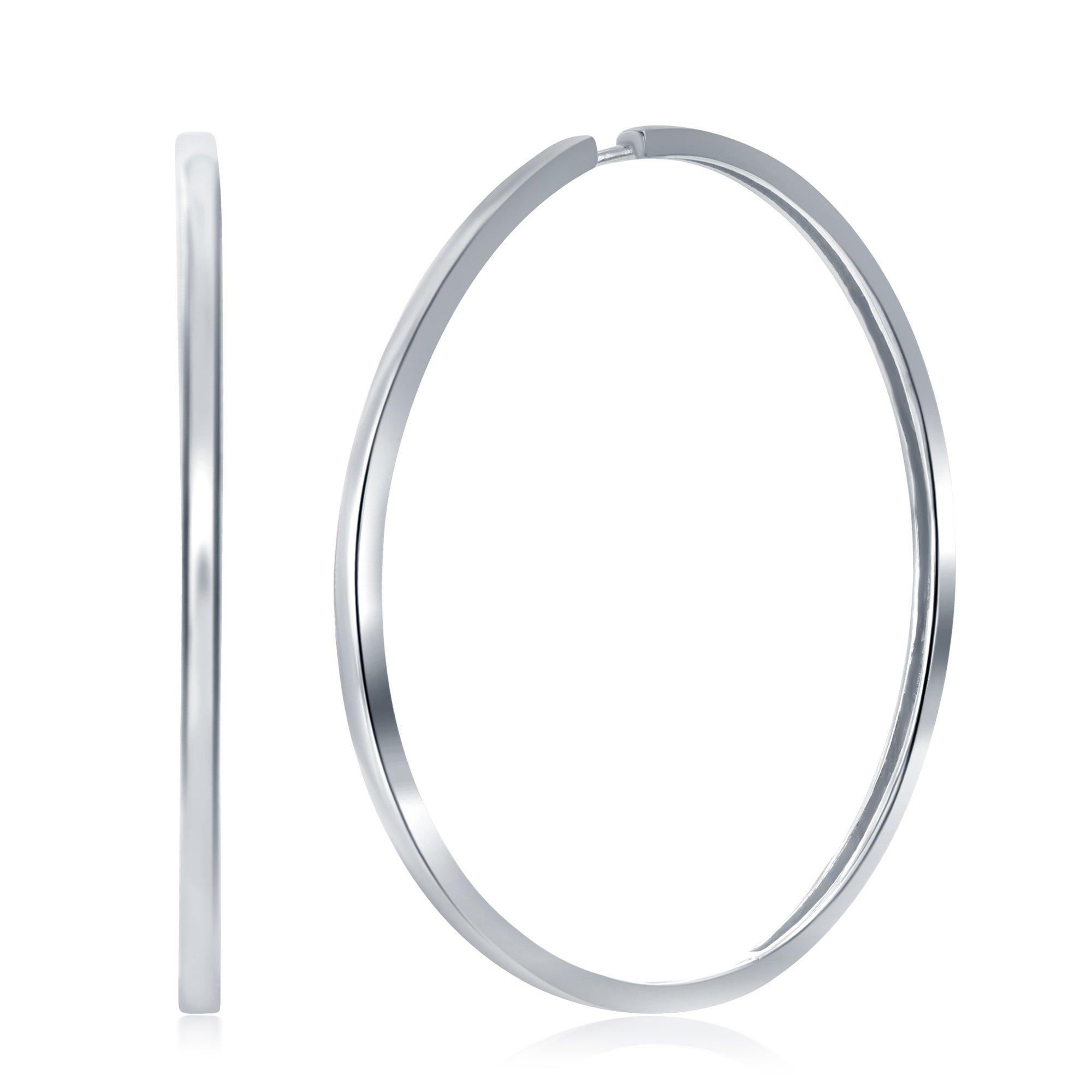 925 Sterling Silver Hoop Earrings for Women Girls Earrings Rounded Huggies for Men (60mm Silver)