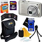 Nikon Coolpix S2900 20.1 MP Point and Shoot Digital Camera with 5x Optical Zoom & 720p HD Video - Silver (International Version) + 7pc Bundle 8GB Accessory Kit w/HeroFiber Ultra Gentle Cleaning Cloth