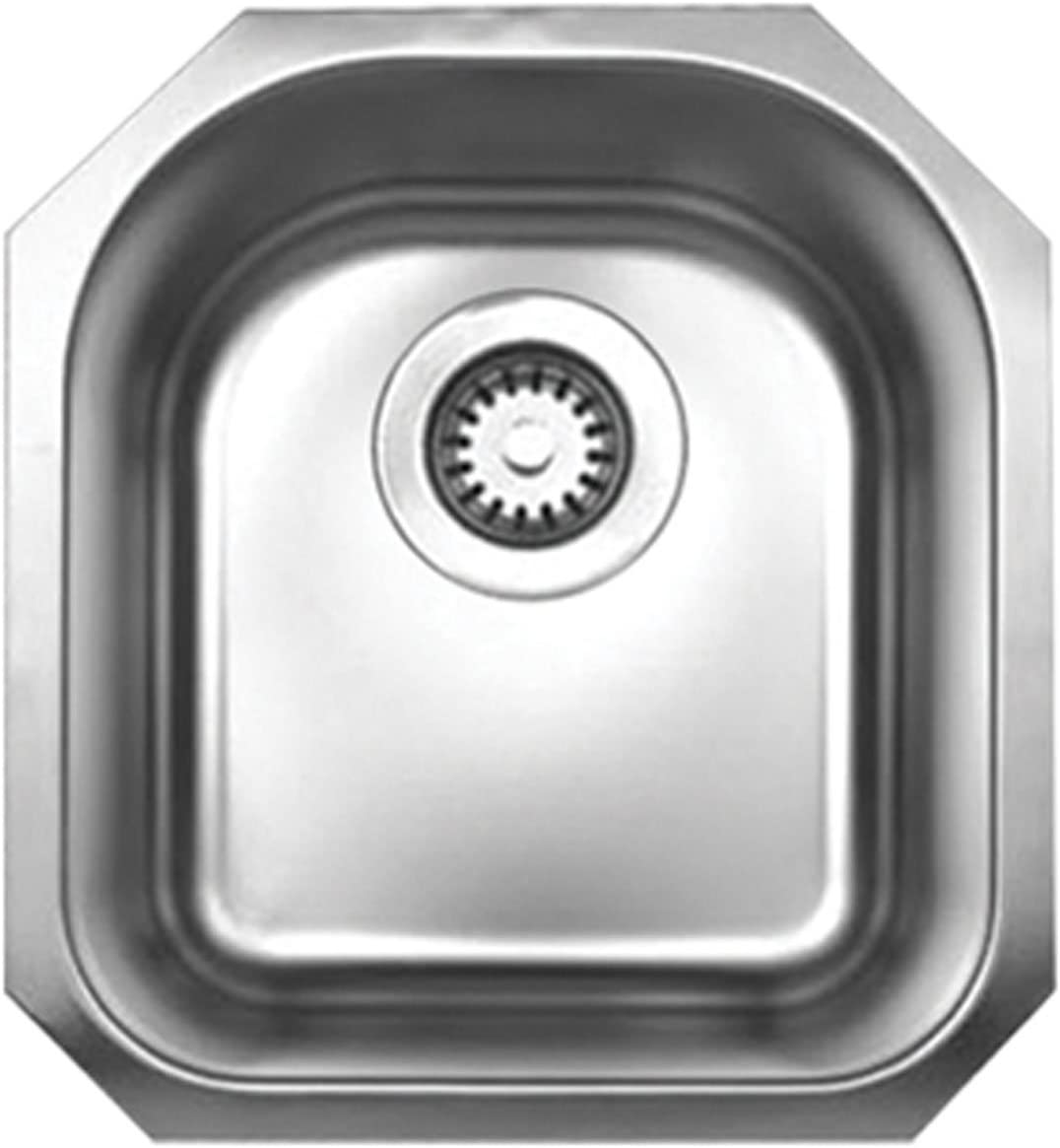 Whitehaus WHNU1618-BSS Noah S Collection 18 1 8-Inch Single Bowl Undermount Sink, Brushed Stainless Steel