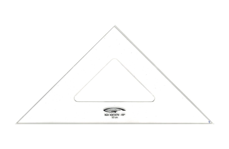 Graphoplex Zeichendreieck 45//° 3/Kanten schmutzabweisend transparent 26 cm durchsichtig