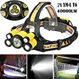 40000 LM 7X XM-L T6 LED Rechargeable Headlamp Headlight Travel Head Torch Yellow