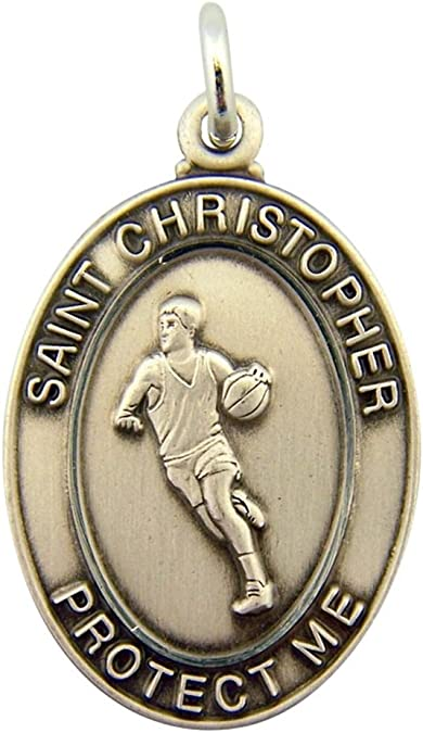 Plata de Ley Saint Christopher Protect Me medalla de baloncesto ...