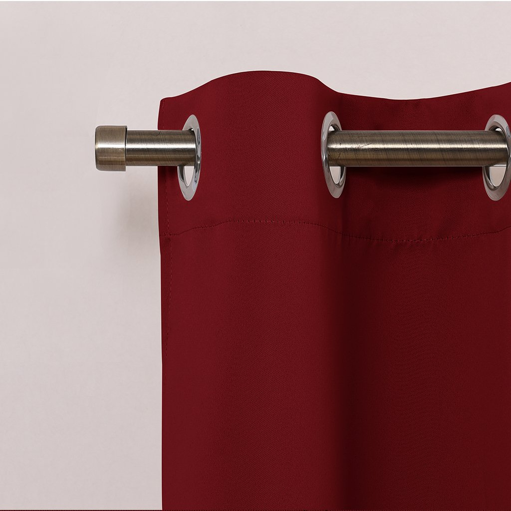 NICETOWN Christmas Valances for Small Window 29 Width x 36 Length + 1.2 Header, Burgundy Pair of Thermal Insulated Eyelet Top Plain Blackout Tier Curtains