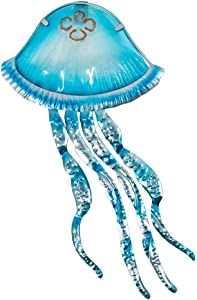Liffy Metal Jellyfish Wall Art Outdoor Nautical Decor Ocean Hanging Sculpture for Pool or Bathroom