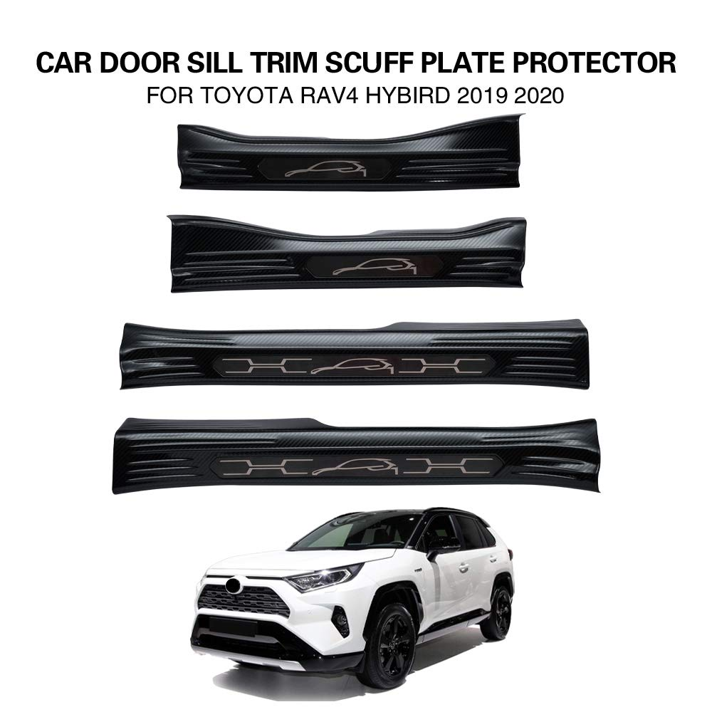 Black Carbon Fiber Powerty Inner Entry Protector Stainless Steel ...