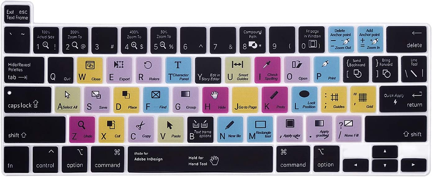 """HRH InDesign Shortcuts Hotkey Silicone Keyboard Cover Protector for MacBook Pro 13 inch 2020 (Model A2289 / A2251 / A2338 M1 Chip) and for MacBook Pro 16""""2019 (Model A2141)"""