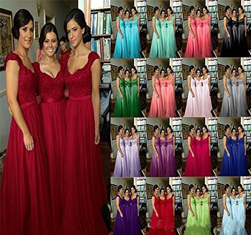 Long Women DreHouse Teal Cap s Wedding Bridesmaid Dress Lace Sleeve Party Gowns xAOXOdq