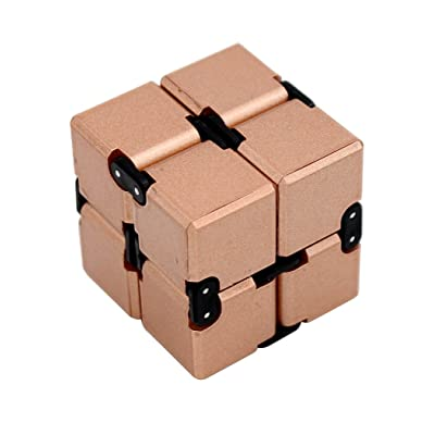 Hillento Infinity Cube Fidget Cube Toy for Adults & Kids Relieve Stress & Anxiety Cool Hand Fidget Stress Toy, Killing Time Fidget Finger Toys Infinite Cube, Rose Gold: Toys & Games