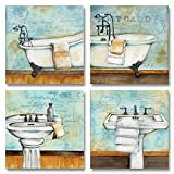 Gango Editions Vintage Bathtub and Sink Bathroom Prints on a Postcard Background; Four 12x12in Posters