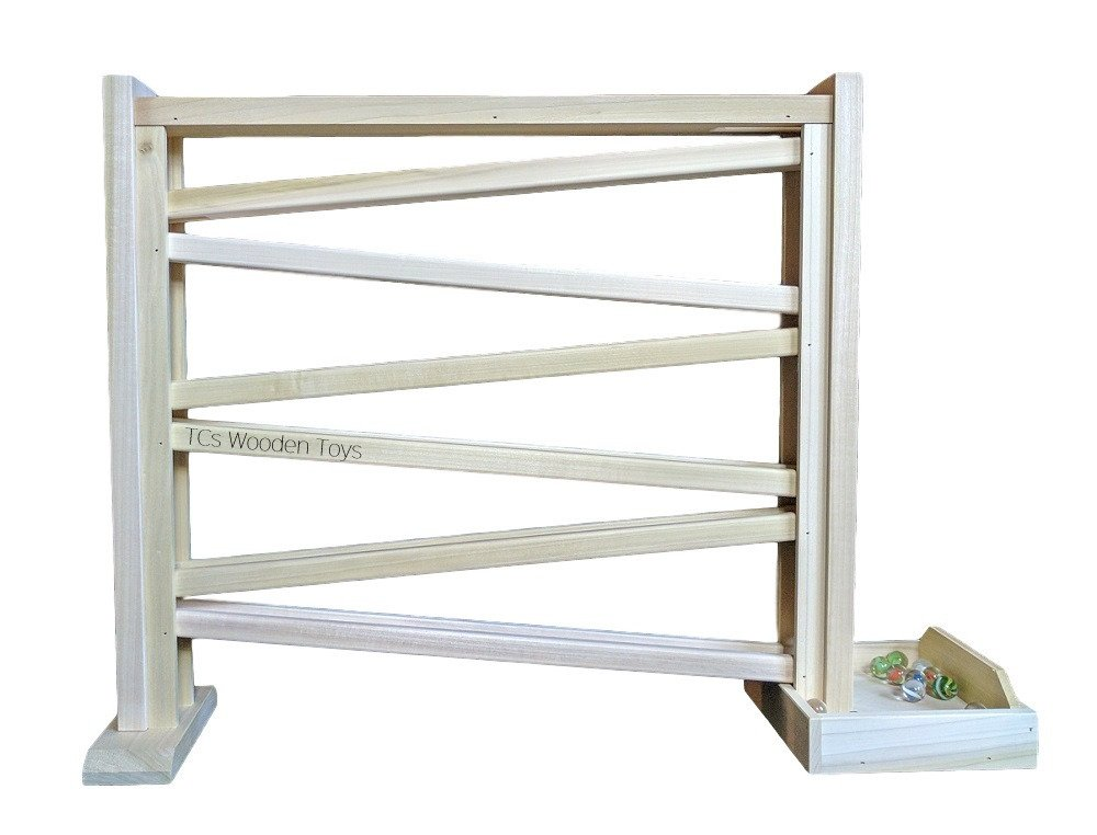 Amish made ORIGINAL Wood Wooden Marble Run Roller Toy - SINGLE Track, 18'' high w 70 FREE Marbles